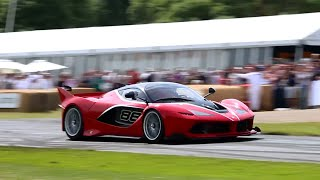 Ferarri FXX K, Enzo FXX & 599XX Accelerations & Downshift Sounds on Track at Goodwood!!