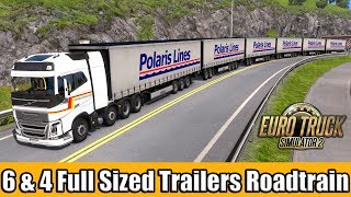 ETS2 - Roadtrain / 6 and 4 Full Size Trailers