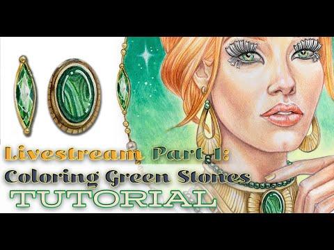 Green Stones Livestream Part 1 Greyscale Coloring of Madamoiselle Malachite