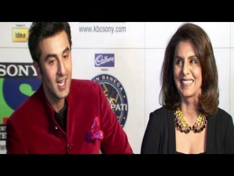 Ranbir Kapoor & Neetu Kapoor on the sets of KBC 7