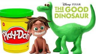 Dinosaurs Play Doh Stop Motion Disney The Good Dinosaur Play Doh Cartoon Learn Colors  Surprise Toys