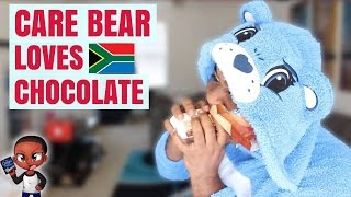 Trying Candy from South Africa IN MY CARE BEAR ONESIE!