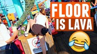 FLOOR IS LAVA CHALLENGE AT SANTA MONICA PIER (IN PUBLIC)