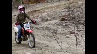 chantal on her honda crf 100f 2007 riding in the sand pit september 2012