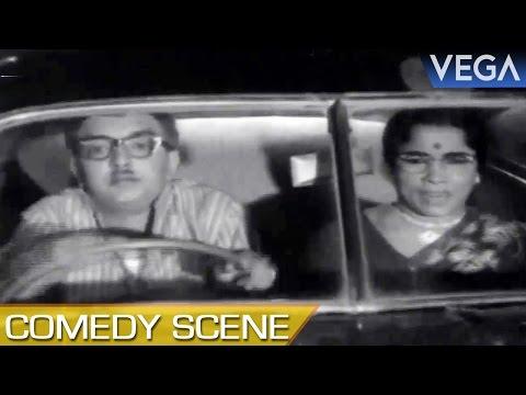 Cho Hits K.R.Vijaya With Car || Ninaivil Nindraval Movie || Comedy Scene