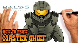 how to draw master chief halo 5 easy art lesson