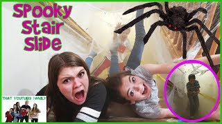 KIDS SPOOKY STAIR SLIDE CHALLENGE - Family Fun! / That YouTub3 Family