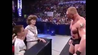 Brock lesnar bloody fight with a little boy and kissing Stepheny micmain