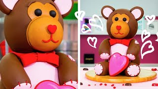 How To Make An Adorable TEDDY BEAR CAKE For Valentine's Day   Yolanda Gampp   How To Cake It