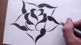 Drawing a Rose in a Simple Stencil Design Style