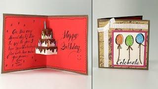 Handmade Birthday Greeting Card - Cake Pop Up Birthday Card Step By Step Tutorial