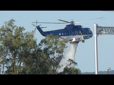 Helicopters Waterbombing Scrubfire, Harrisdale W.A., 8 Feb 2012