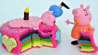 La Familia Pig y Plastilina Play Doh hacen un Pastel de Cumpleaños para Mamá Cerdita!!! TotoyKids