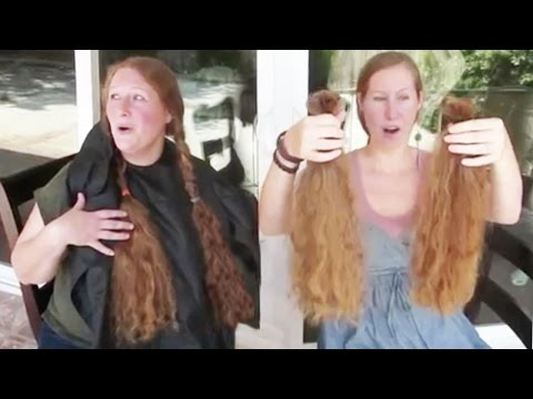 SISTERS CUT EACH OTHER'S LONG HAIR & DONATE OVER 28