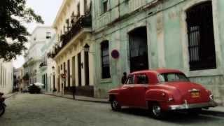 Classic American car on the Havana (music Cuba Dancing )