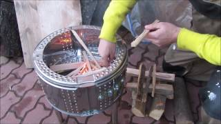 Simple and quick fire pit from a washing machine drum