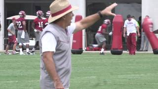 Watch Nick Saban working with DBs at practice