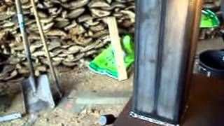 Building a rocket stove out of a wood stove.