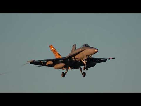 Dawn Strike Recovery at RAAF Williamtown (F/A-18A/B/F Hornets Hawk 127 E7A Wedgetail C130 Hercules)