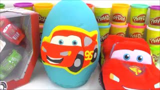 Disney Cars Giant Playdoh Surprise Egg with Big Hero 6 Minecraft Toys and More!