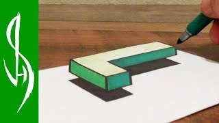 How to Draw Floating 3D Letter L - Easy Anamorphic Trick Art