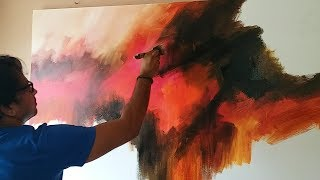 Abstract painting / Demonstration of abstract painting in Acrylics / Easy blending