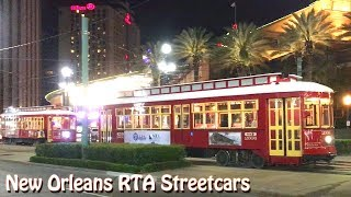 New Orleans Streetcars RTA Nighttime Running Canal Street and St. Charles Avenue
