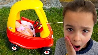 Naughty Baby driving a COZY COUPE Little Tikes car, Kids & Baby playing