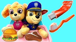 Paw Patrol Skye Chases Puppies Brush Their Teeth | Fizzy Fun Toys