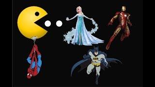 Spiderman & Frozen Elsa vs Evil Queen | Learn Colors PacMan Eating