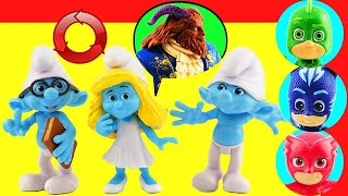Smurfette Transformation into The Beast! Learn Colors! Brainy & Clumsy Smurfs & PJ Masks VS Romeo!