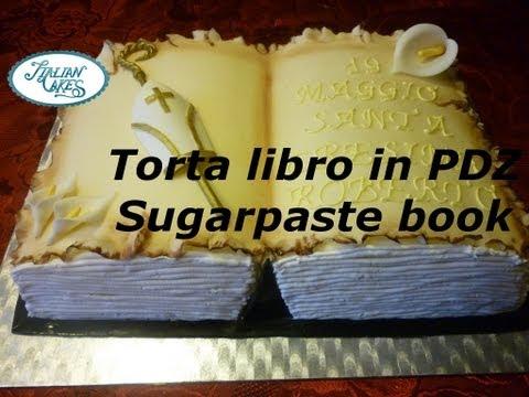 Torta libro in pasta di zucchero Sugarpaste book cake by ItalianCakes