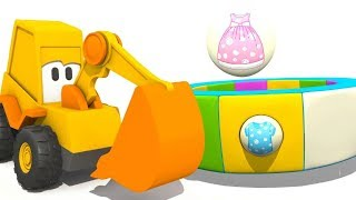 Kids learning clothes with an excavator for kids. Baby cartoon.