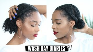 WASH DAY DIARIES   PROTECTIVE STYLE ON 4B, 4C NATURAL HAIR + CANTU VS CANTU! #001