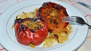 Ground Beef Stuffed Peppers - Easy Stuffed Red Bell Peppers with Ground Meat Recipe
