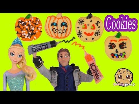 Disney Frozen Dolls Queen Elsa Princess Anna Prince Hans Decorate Halloween Pumpkin Cookies