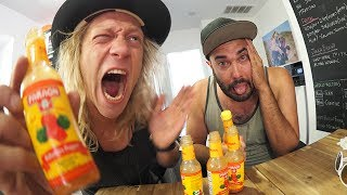Chugging 5 Bottles of Hot Sauce! (TOO MUCH?)