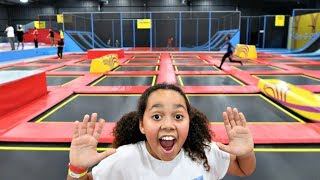 CRAZY TRAMPOLINE PARK! Wipeout Challenge | Toys AndMe Family Fun Video