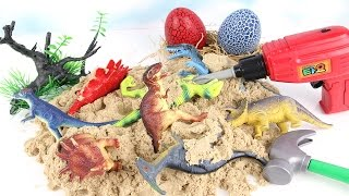 Dinosaurs Play Sand -  Dinosaur Dig Toys For Children Learn names of Dinosaurs With Kinetic Sand