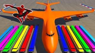 Spiderman Longest Limousine Cars Transportation on Biggest Airplane Cartoon For Kids Nursery Rhymes