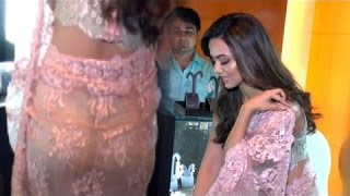 Sana Khan Butt Exposed In See Through Saree !!