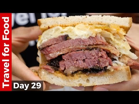 watch New York City Food Tour : Melt-In-Your-Mouth Pastrami at Katz's Deli and The Halal Guys!