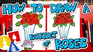 How To Draw A Bouquet Of Roses For Valentine