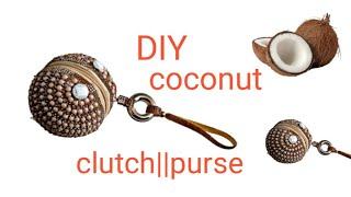 make round ball shape pearl beaded clutch/ coconut/diy/clutch/tutorial