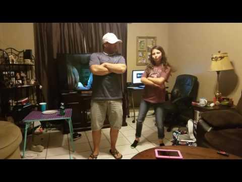 Daughter teaching dad to Juju on dat beat