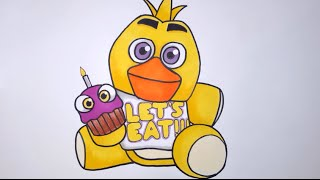 How To Draw Chica Plushie From Five Nights At Freddy's Step By Step