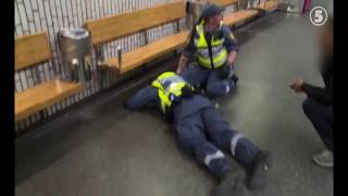 African gang beats up security guard in Stockholm subway