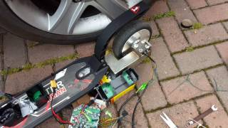 Homemade hoverboard wheel electric scooter+Link for controller