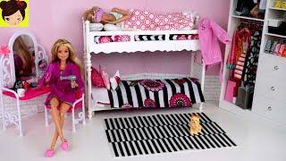 Barbie Gemelas Rutina de Mañana - Habitacion con Literas de Muñecas