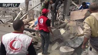 Immediate aftermath of Saudi-led coalition airstrike in Yemen that claimed the lives of 14